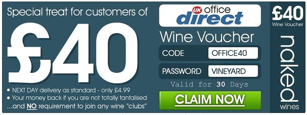 uk office direct and naked wines voucher