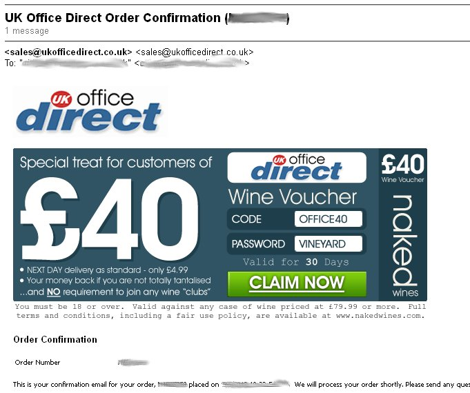 uk office direct email order confirmation