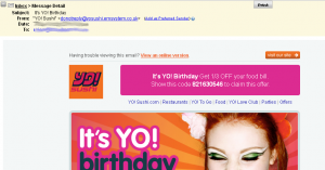 Yo Sushi Birthday Marketing Example