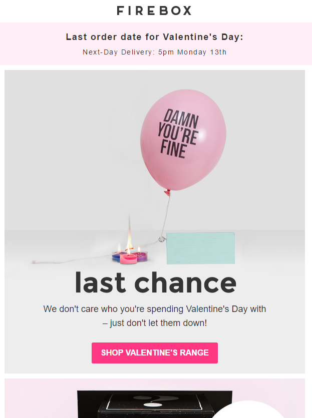 firebox guilt valentines day email marketing