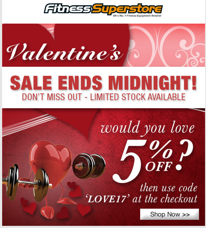 fitness superstore valentines day email marketing