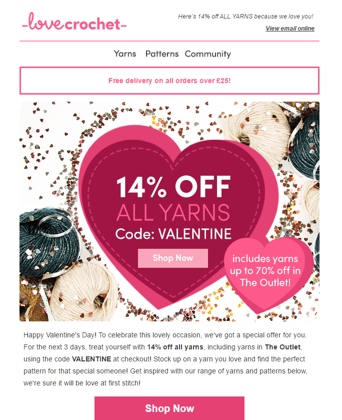 love crochet valentines day email marketing