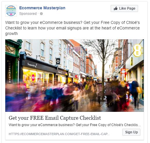 email signup facebook