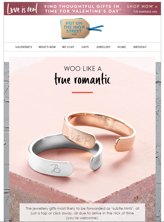 not on the high street btw valentines day email marketing