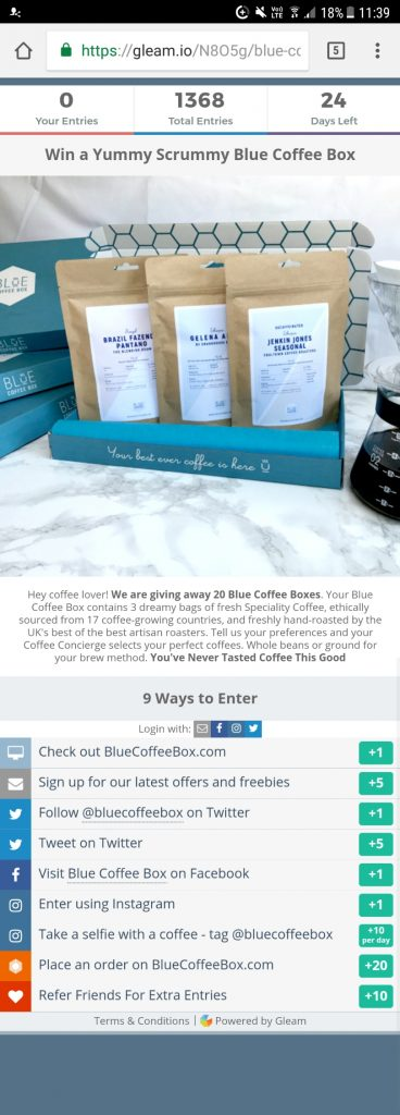 blue coffee box competition